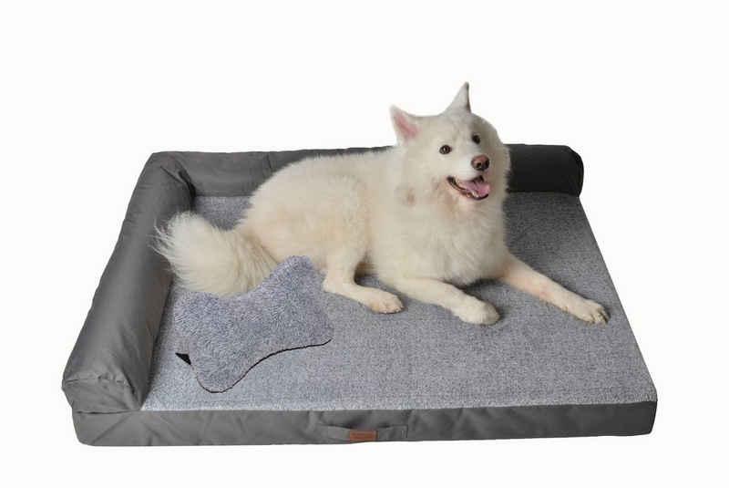 RAIKOU Tierbett »RAIKOU Weiches Hundebett mit entnehmbarem Polster, gepolstertes waschbares Haustierbett Hundekissen Hundesofa Hundekorb«, gib ein knochenförmiges Kissen,antistatisch