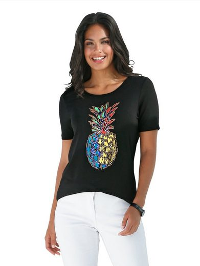 Amy Vermont Shirt mit Ananasdruck und Pailletten