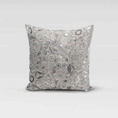 SCHÖNER LEBEN. Kissenhülle »SCHÖNER LEBEN. Kissenhülle Foliendruck Paisley Blumen weiß grau blau silberfarbig verschiedene Größen«, handmade