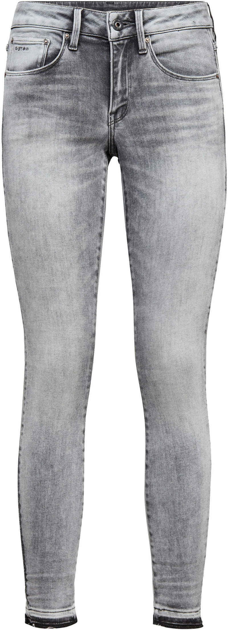 G-Star RAW Ankle-Jeans »3301 Mid Skinny RP Ankle Jeans« mit leicht ausgefranster Kante am Saumabschluss