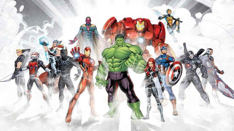 Komar Fototapete »Avengers Unite«, glatt, bedruckt, Comic, Retro, mehrfarbig, BxH: 500x280 cm
