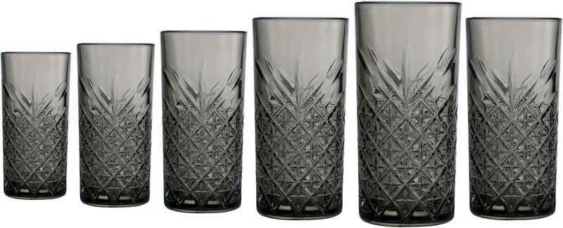 Leonique Longdrinkglas »Lelant«, Glas, durchgefärbtes Glas mit dekorativer Struktur, 450 ml, 6-teilig