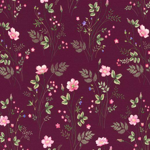 larissastoffe Stoff »Jersey Stoff Blumen, Swafing Jonne bordeaux«, Stoffe zum Nähen, Meterware, 50 cm x volle Breite