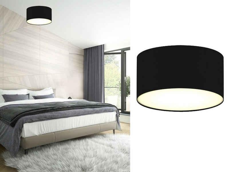 smartwares LED Deckenleuchte, kleine dimmbare Decken-Lampe mit Stoff-Schirm Schwarz Skandinavisch schöne Beleuchtung für Wohnzimmer, Schlafzimmer und Flur