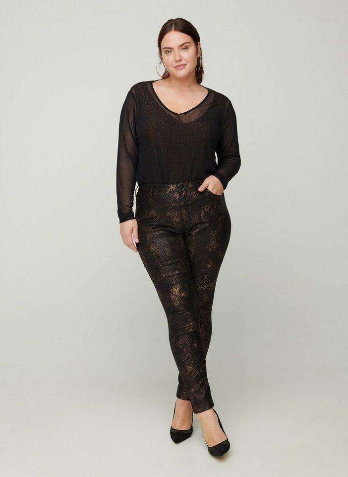 zizzi -  Stoffhose Große Größen Damen Enganliegende Hose aus Viskose mit Schlangenmuster