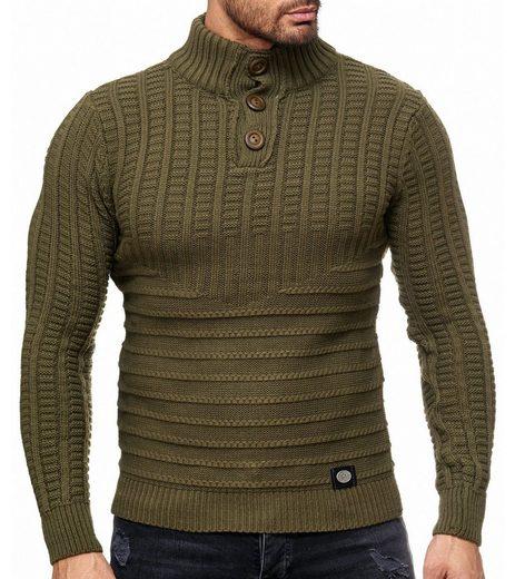 Rusty Neal Rundhalspullover »RUSTY NEAL Grobstrick-Pullover modischer Stehkragen-Sweater Herren Sweatshirt im Norweger Look Trendpulli Khaki«