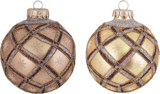 Krebs Glas Lauscha Weihnachtsbaumkugel »CBK100006A« (8 Stück), mit Gitterdesign
