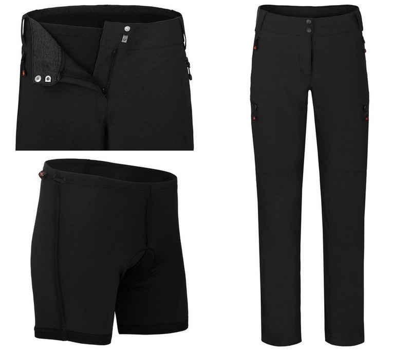 Bergson Fahrradhose »VINA (mit gepolsterter Innenhose)« Damen Radhose, robust, elastisch, Normalgrößen, schwarz
