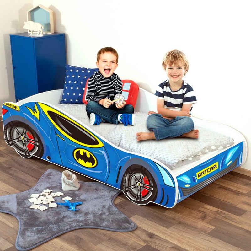Alcube Rennwagenbett »BATCAR«, Autobett 70x140 cm für kleine Rennfahrer im BATMAN CAR Design mit Matratze, Lattenrost und Rausfallschutz, FSC-zertifiziert