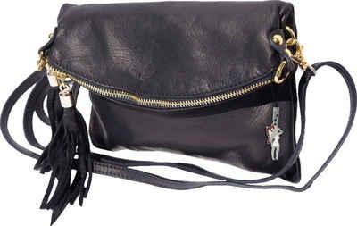 FLORENCE Clutch »OTF802S Florence 3in1 Damen & Abendtasche« (Umhängetasche), Damen Tasche aus Echtleder in schwarz, ca. 23cm (aufgeklappt 23x2x26) Breite, Made-In Italy