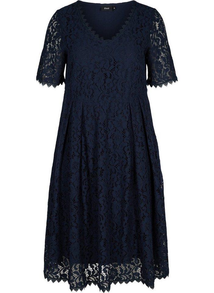 Festtagsmode - Zizzi Spitzenkleid Große Größen Damen Kurzarm Kleid mit Spitze und A Linie ›  - Onlineshop OTTO