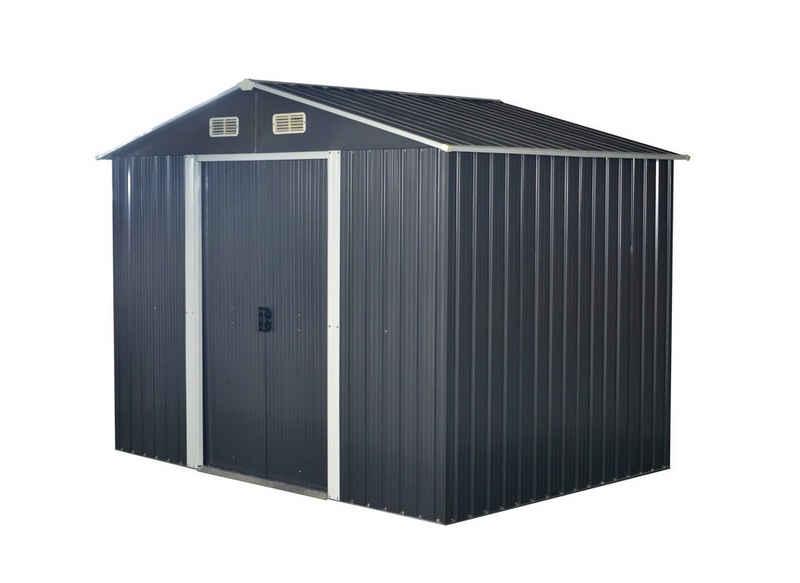 ONDIS24 Fahrradbox »Gartenhaus aus Metall 174 x 236 x 190 (H) cm mit Schiebetüren 4,1m² Metall Gartenschuppen mit Satteldach abschließbar verzinkt«, 4,1m²