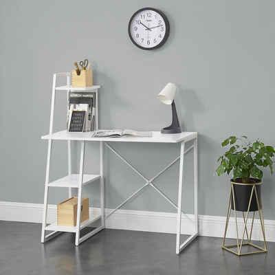 en.casa Regal-Schreibtisch, »Aalborg« - Bürotisch mit Ablage PC Tisch 117x102x50cm - Weiß