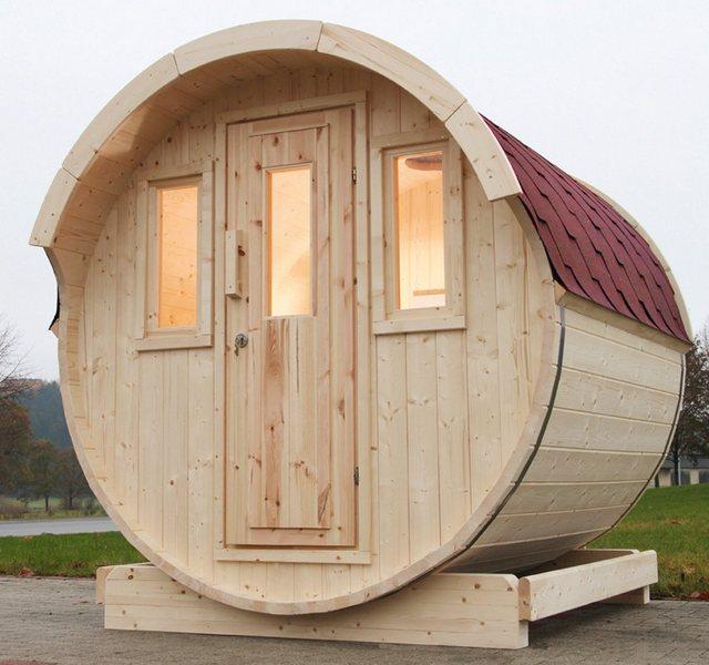 Saunen und Zubehör - Wolff Fasssauna »220«, BxTxH 205 x 220 x 210 cm, 42 mm, rote Schindeln, ohne Ofen  - Onlineshop OTTO