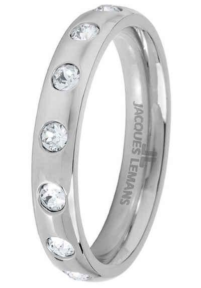 Jacques Lemans Fingerring »S-R60A52,54,56,58«, mit Kristallstein