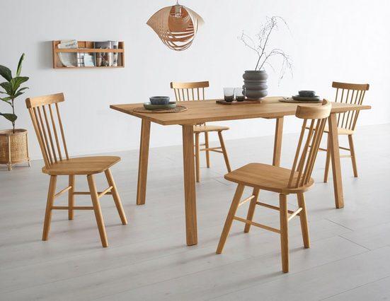 OTTO products Esstisch »Lennard«, aus massiver geölter Wildeiche, mit veganem und zertifizierten Bio-Öl behandelt, rechteckige Tischplatte, mit eckigen Holzbeinen