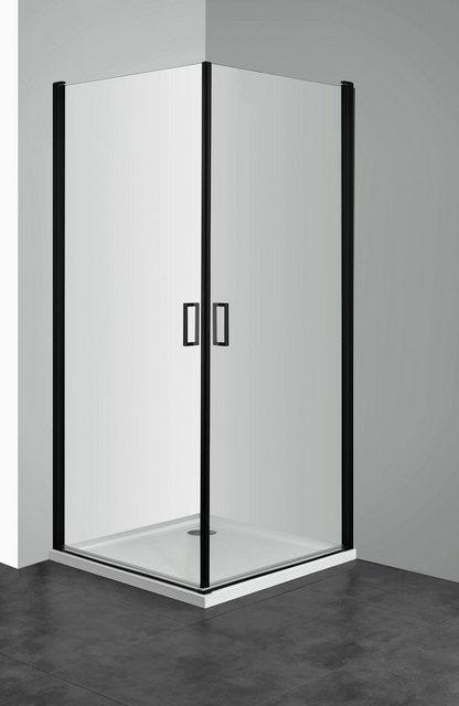 Duschen und Zubehör - welltime Eckdusche »Florenz Black«, BxT 90x90 cm, Einscheibensicherheitsglas, mit Hebe Senk Mechanismus, barrierefrei einbaubar, höhenverstellbar  - Onlineshop OTTO