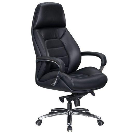 FINEBUY Chefsessel »FB26162«, Bezug Echtleder Schwarz Schreibtischstuhl bis 120 kg, XXL Design Chefsessel höhenverstellbar, Drehstuhl ergonomisch mit Armlehnen & hoher Rückenlehne, Wippfunktion