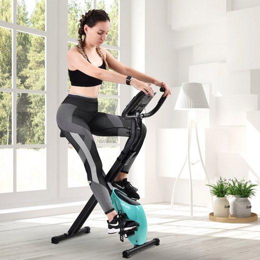 Masbekte Heimtrainer, Magnetische Fitnessfahrrad klappbar mit gepolstertem Sitz und LCD-Konsole
