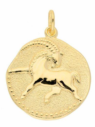 Adelia´s Kettenanhänger »333 Gold Sternzeichen Anhänger Steinbock Ø 18,2 mm«, Goldschmuck für Damen & Herren