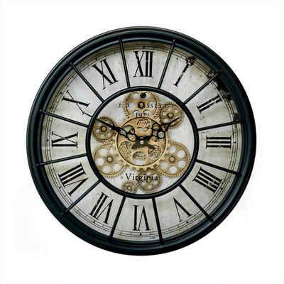 K&L Wall Art Wanduhr »Große Metall Wanduhr 46cm Vintage Uhr« (rotierende, goldene Zahnräder, Bahnhofsuhr mit großen römischen Ziffern, leises Quarz Uhrwerk)