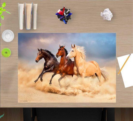 cover-your-desk.de Schreibtischaufsatz »Schreibtischunterlage für Kinder – Drei Pferde – 60 x 40 cm – aus hochwertigem Vinyl«, (1-St)