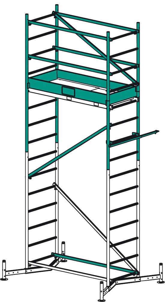 KRAUSE Fahrgerüst »Climtec«, Max. Arbeitshöhe: 5 m, 1. Aufstockung