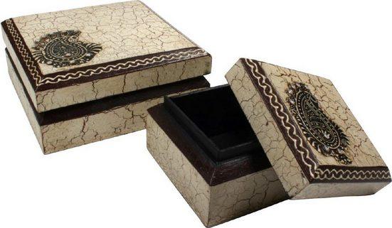 Guru-Shop Aufbewahrungsdose »Handbemalte Holzdose, Schmuckschachtel `Bagru`«