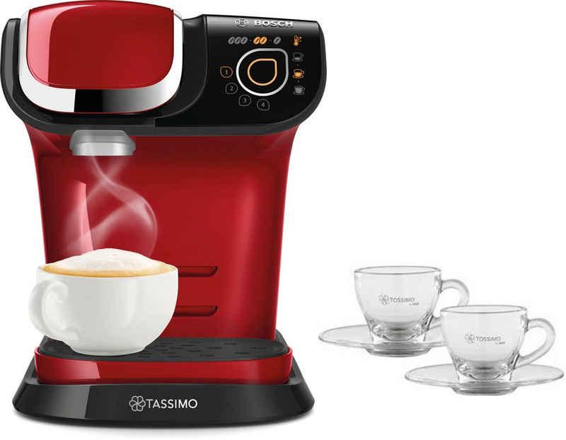 TASSIMO Kapselmaschine MY WAY 2 TAS6503, Kaffeemaschine by Bosch, rot, mit Wasserfilter, über 70 Getränke, Personalisierung, vollautomatisch, inkl. 2 Tassimo Glastassen im Wert von 9,99 UVP