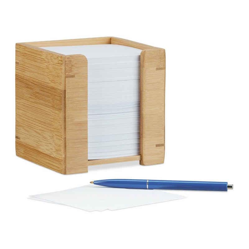 relaxdays Zettelkasten »Zettelbox Bambus«
