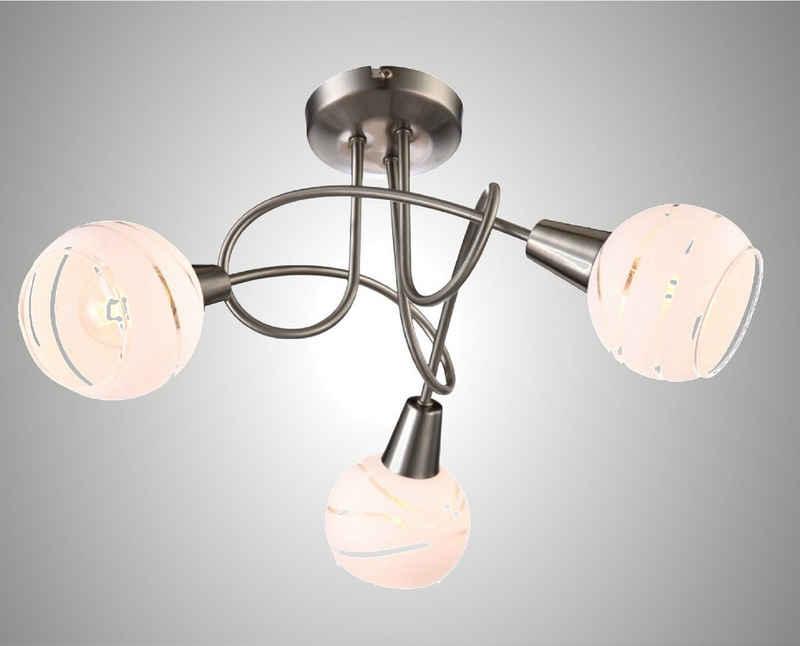 TRANGO LED Deckenleuchte, 3-flammig 1001-32D LED Deckenstrahler *OLIVIA* inkl. 3x 3-Stufen dimmbar LED Leuchtmittel 3000K warmweiß I Deckenlampe in Edelstahl-Optik mit Design Gläsern, Deckenstrahler, Wohnzimmer Lampe, Spots