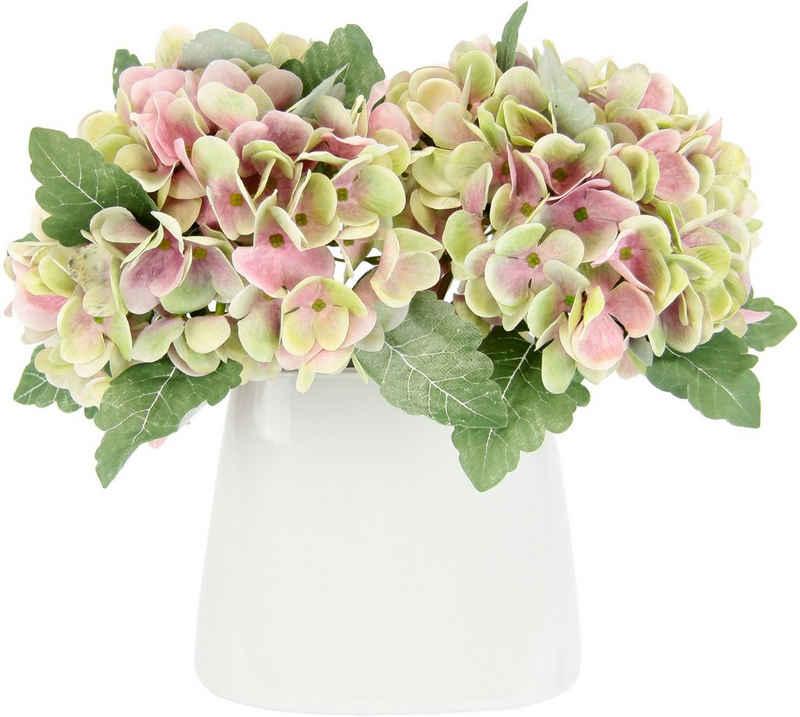 Kunstblume »Hortensienbusch«, I.GE.A., Höhe 30 cm, In Keramikvase
