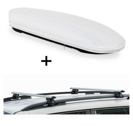 VDP Fahrradträger, Dachbox VDPMAA320 320 Liter abschließbar weiß + Dachträger CRV135 kompatibel mit Mercedes GLK (5 Türer) ab 2008