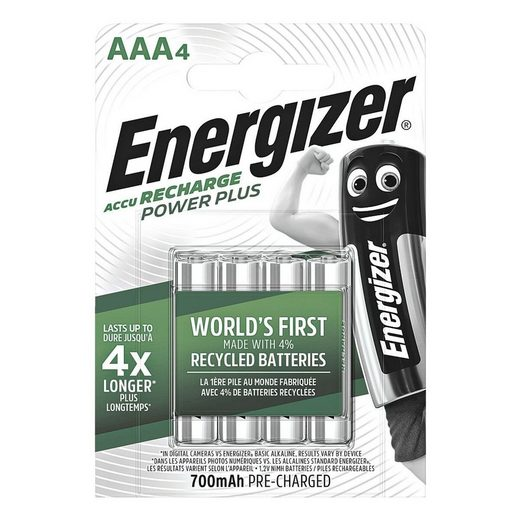Energizer »Power Plus« Akku, (4 St), AAA, mehrere 1000x wiederaufladbar