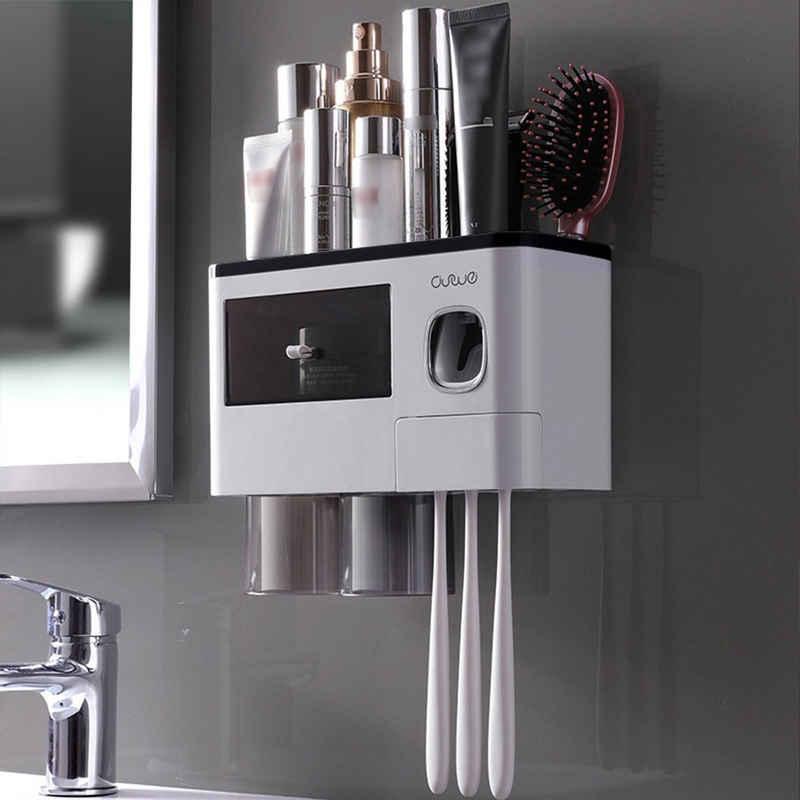 Masbekte Zahnbürstenhalter, Automatischer Zahnpastaspender, mit transparente magnetische Becher, Zahnbürstenschlitze, Kosmetik Organizer Schublade