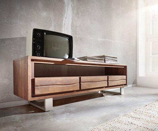DELIFE TV-Board »Live-Edge«, Akazie Braun 146 cm 1 Fach 3 Schübe Baumkante Lowboard
