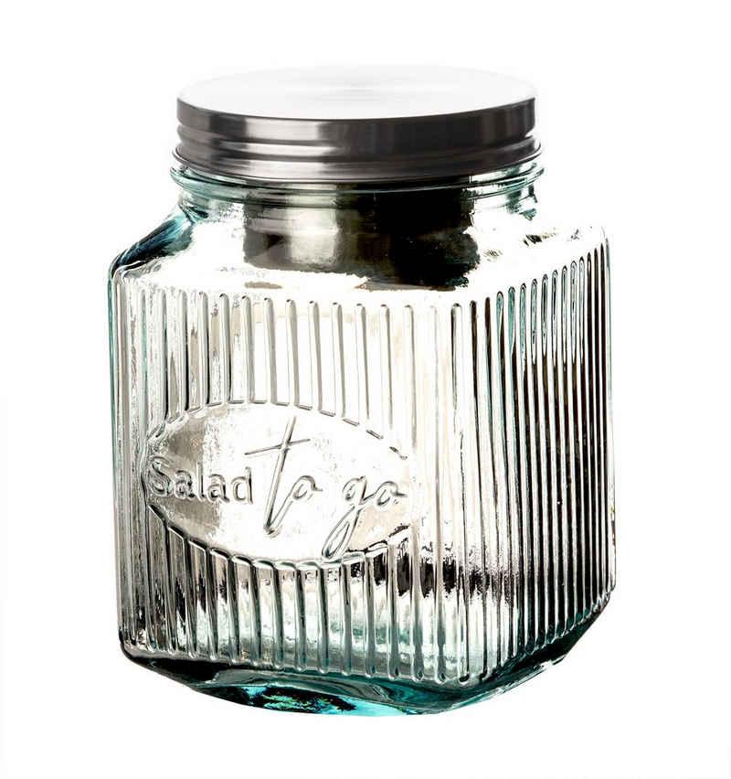 BigDean Salatbox »Snack−to−go−Glas auslaufsicher − 100% recyceltes Glas − Lunchbecher mit Dressing−Einsatz & Deckel − Lunchbox Lunchbehälter 4−kantig«, Glas. Edelstahl, (1-tlg)