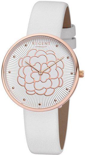 Regent Quarzuhr »URBA604 Regent Damen Uhr BA-604 Leder Armbanduhr«, (Analoguhr), Damen Armbanduhr rund, Lederarmband weiß
