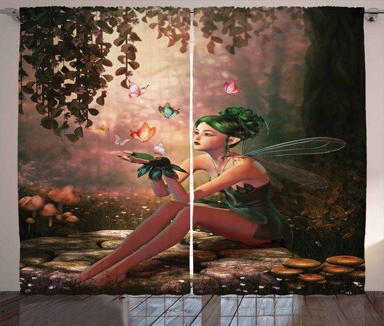 Gardine »Schlafzimmer Kräuselband Vorhang mit Schlaufen und Haken«, Abakuhaus, Fee Mädchen Wings Schmetterlinge