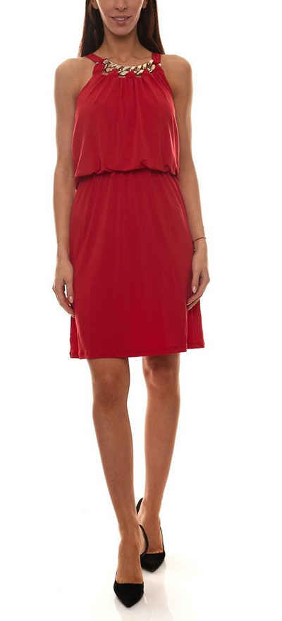 Melrose Partykleid »melrose Party-Kleid mit Kette glamouröses Damen Midi-Kleid mit amerikanischem Schulter-Schnitt Abend-Kleid Rot«
