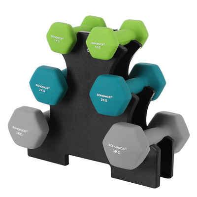SONGMICS Hantel-Set »SYL612GN SYL612MK«, 12 kg, (6-tlg), Kurzhantel Set, Hexagon, mattes Finish, Krafttraining, Fitnessstudio