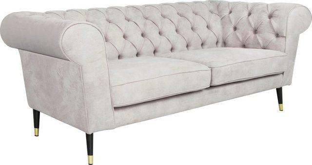 Sofas - Leonique 3 Sitzer »Wales«, mit raffinierter Knopfsteppung, im Chesterfield Stil  - Onlineshop OTTO