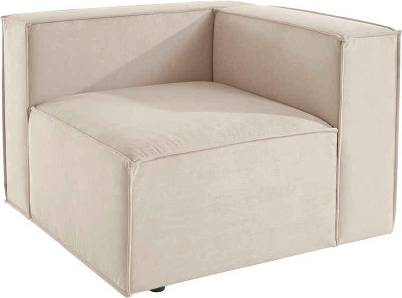 Leonique Sofa-Eckelement »Finian«, Einzelteil eines Modulsofas mit Kunststoff Füßen