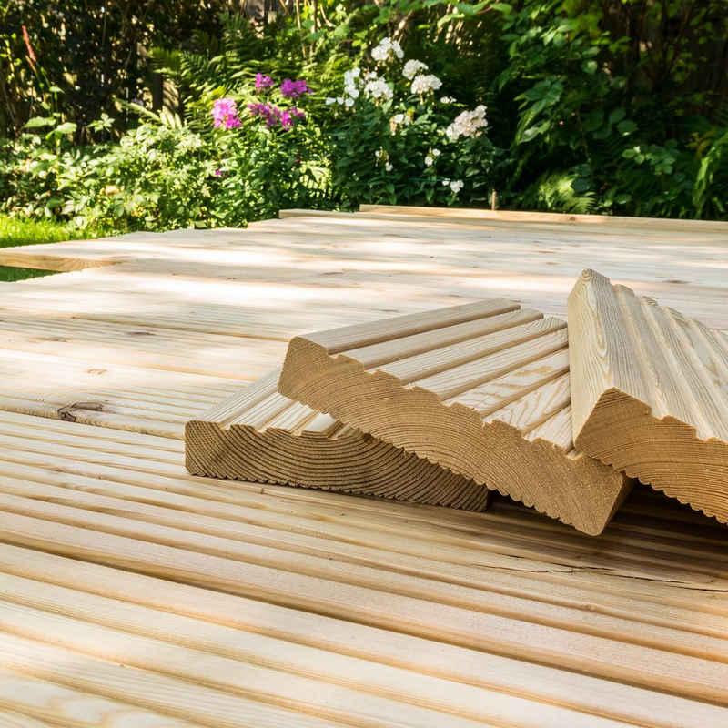 HOME DELUXE Terrassendielen »Sibirische Lärche«, Inkl. Unterkonstruktion und Montagematerial, Terrassenboden Poolumrandung Balkonbelag