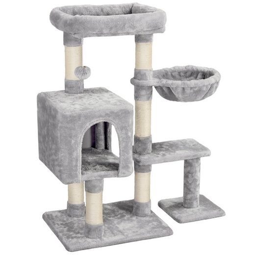 Yaheetech Kratzbaum, Katzenkratzbaum 96 cm Katzenbaum mit großer Aussichtplattform und Fellbällchen Sisal Kletterbaum Spielhaus für Katzen