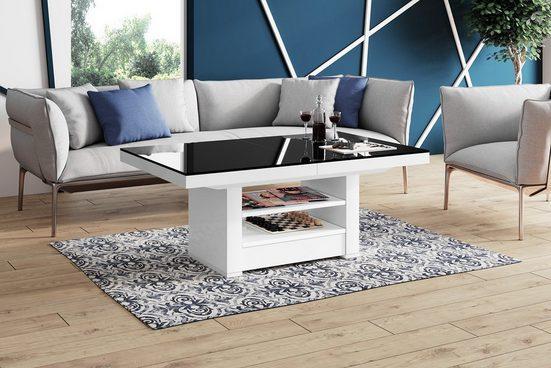 designimpex Couchtisch »Design Couchtisch Tisch HLM-111 Schwarz / Weiß Hochglanz Schublade höhenverstellbar ausziehbar«