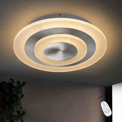 ZMH LED Deckenleuchte »Deckenlampe Dimmbar stufenlos mit Fernbedienung für Wohnzimmer, Schlafzimmer, Büro, Küche Nickel Matt«