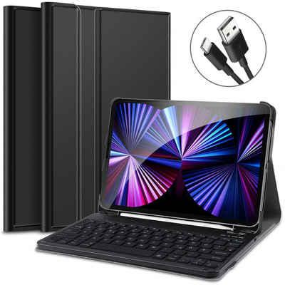IVSO »Tastatur Hülle für iPad Pro 11 2021/2020 & iPad Air 4 (Deutsches QWERTZ)« Tablet-Tastatur (Ständer PU Schutzhülle Hülle mit magnetisch Abnehmbarer Kabellose Tastatur für iPad Pro 2021/2020/2018 & iPad Air 4, 11 Zoll)