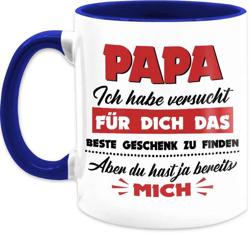 Shirtracer Tasse »Papa ich habe versucht das beste Geschenk zu finden rot - Vatertagsgeschenk Tasse - Tasse zweifarbig«, Keramik