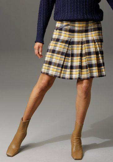 Aniston CASUAL Faltenrock mit Zierreißverschluss im Vorderteil